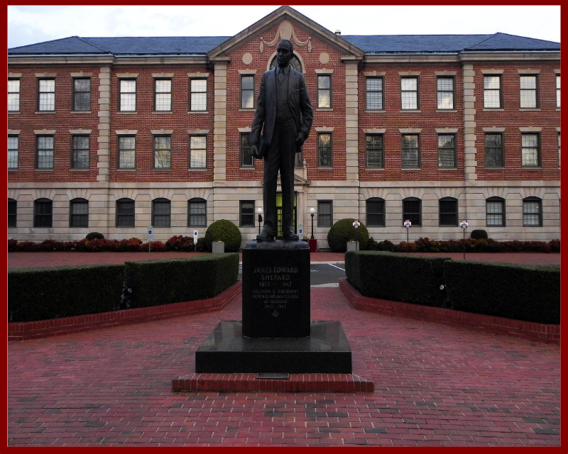 Statue of Dr. James E. Shepard in front of the Hoey Administration Building on the campus of North Carolina Central University